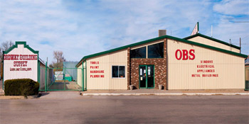 Front view of the OBS Lumberyard in Ordway, CO